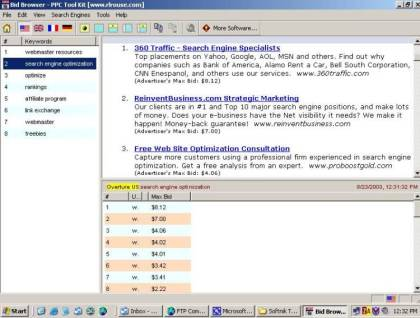 PPC BidBrowser Screenshot
