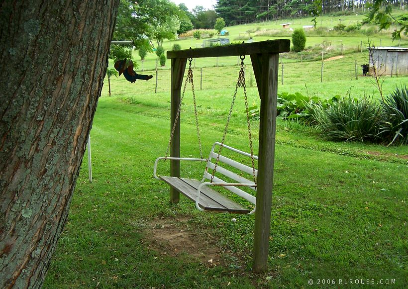 "The swing where ""Aunt Cel"" used to sit."