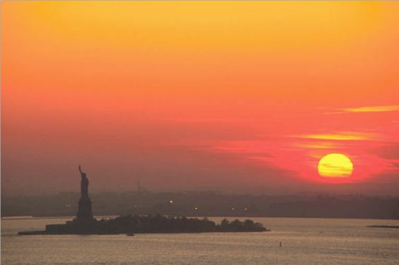 New York Harbor At Sunset