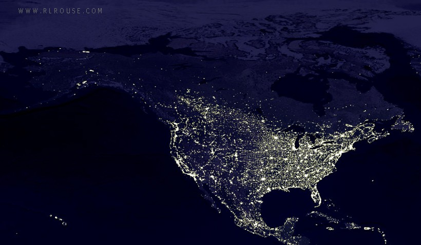 Nighttime view of North America.