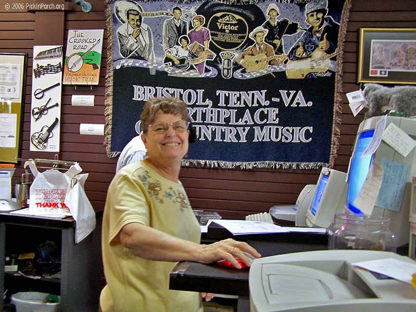 Phyllis Helton at work at the Mountain Music Museum.