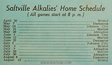 A schedule of the Saltville Alkalies home games.