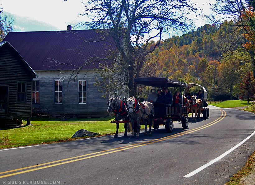 Photo of a wagon train in Zionville, North Carolina.